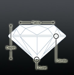 Cushion shaped diamond profile view