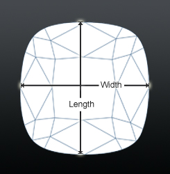 Cushion shaped diamond top view