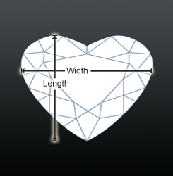 Heart shaped diamond top view