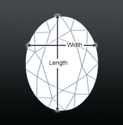 Oval shaped diamond top view