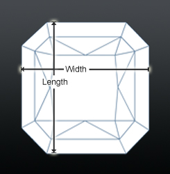 Radiant shaped diamond profile view