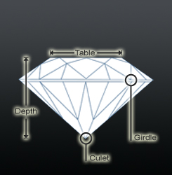 Round shaped diamond profile view